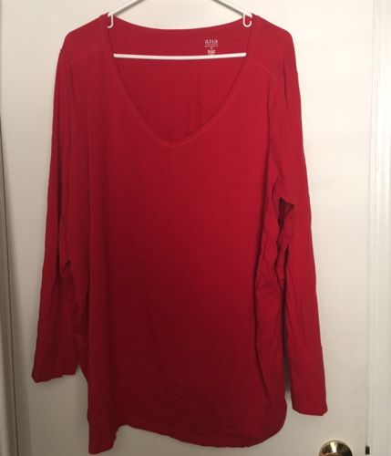 Women's Plus Size Maternity 3x Long Sleeve V-neck Shirt Red Maternity Clothes