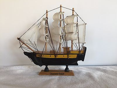 Handmade Vintage Nautical Wooden Sailboat Boat Clearwater Beach Souvenir 10