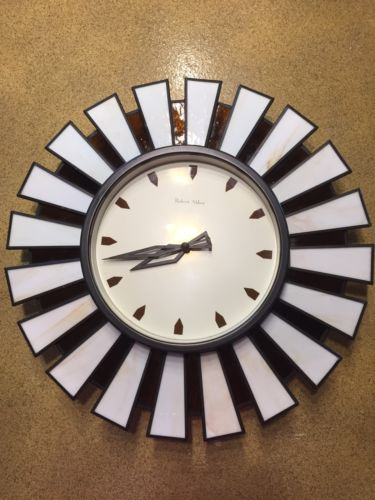 VINTAGE Retro STARBURST Stained Glass WALL CLOCK ATOMIC MID CENTURY