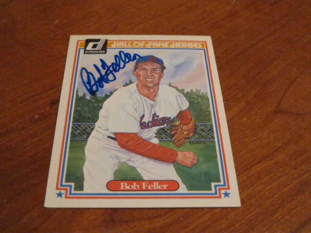 Bob Feller Autographed Baseball Card JSA Auction Cert 3