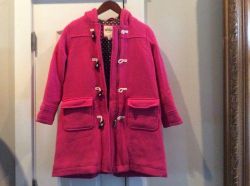 Mini-Boden Girls Wool Duffel Coat, Pink Size 9-10y