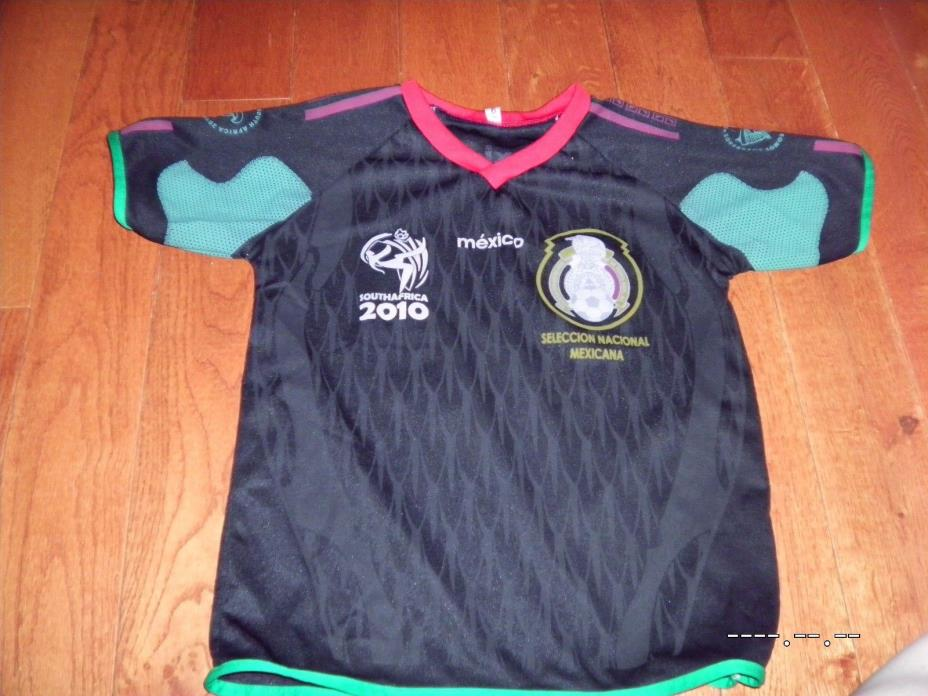 MEXICO WORLD CUP 2010 SOUTH AFRICA SOCCER JERSEY youth kids small Black rare cup