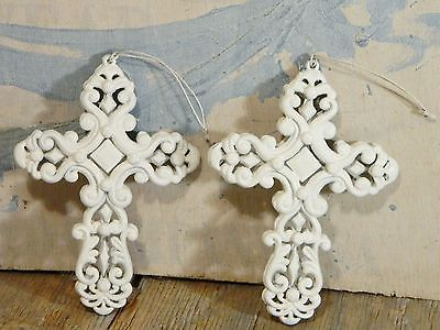 Ornaments/Religious Cross/White/Ornate/Sculpted/Wall Decor/Shabby French Chic/ 2