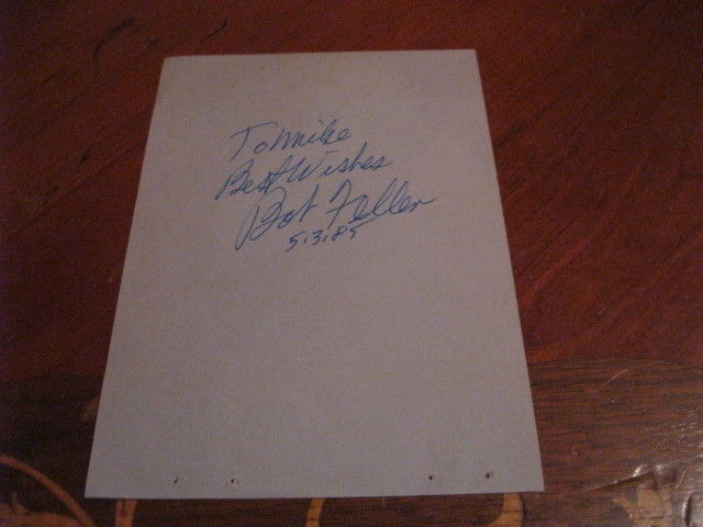 Bob Feller Autographed Index Card/Paper JSA Auc Certified
