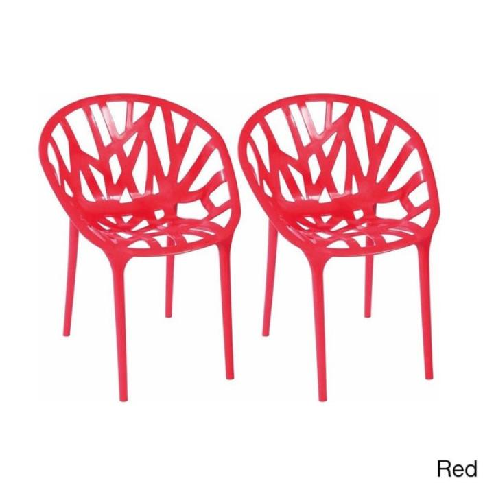 Red Accent Chairs Branch Comfortable Indoor Outdoor Furniture Patio Home Garden