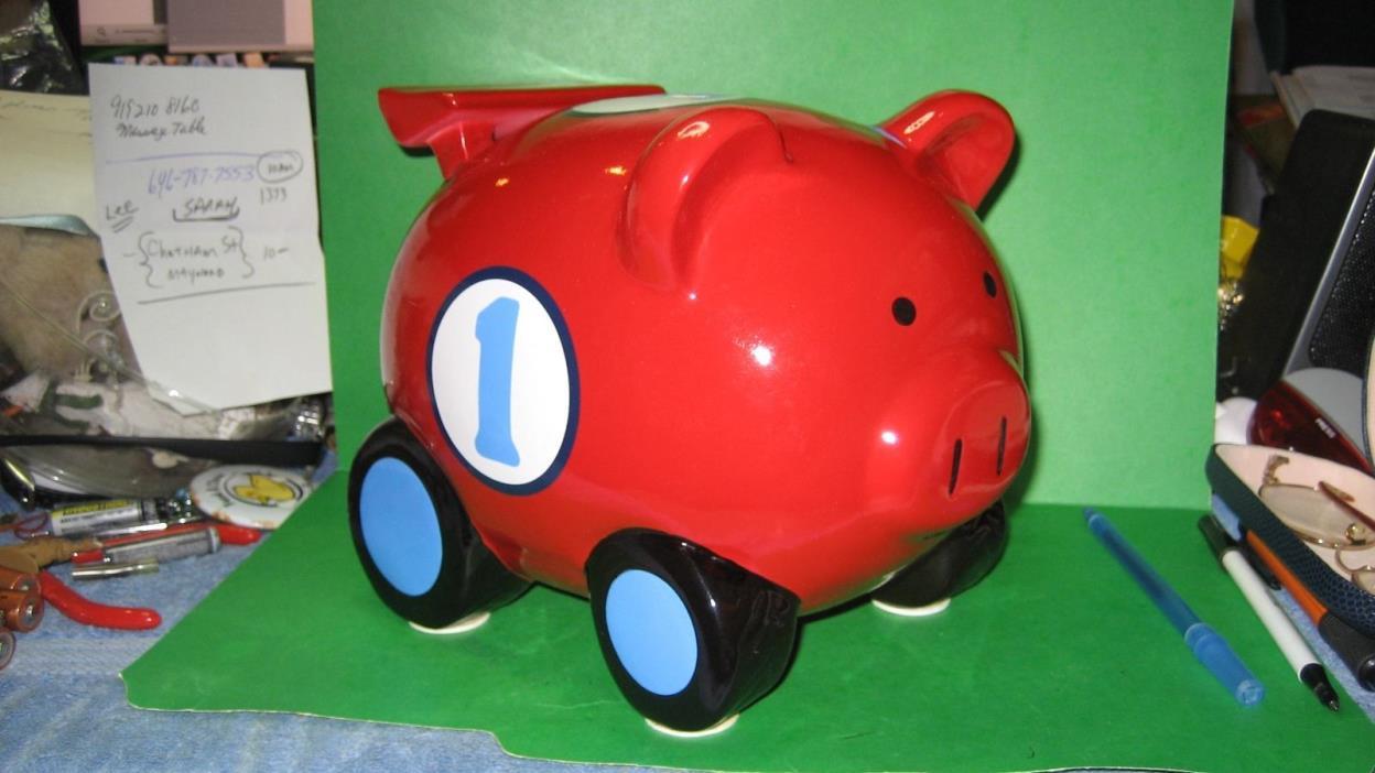 Circo Red Car Piggy Coin Bank on Wheels - Great Gift Idea