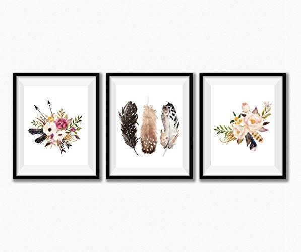 Feather Nursery Decor, Girl Nursery Art, Boho Nursery Decor, Set of 3 prints onl