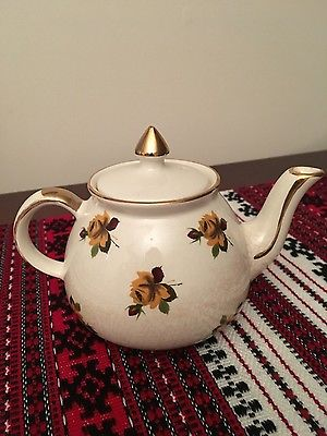 Staffordshire Decorated Teapot Cattle Gold Plated
