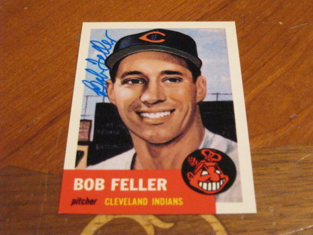 Bob Feller Autographed Baseball Card JSA Auction Cert 9