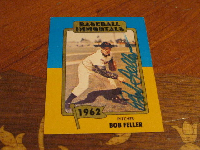Bob Feller Autographed Baseball Card JSA Auction Cert 12