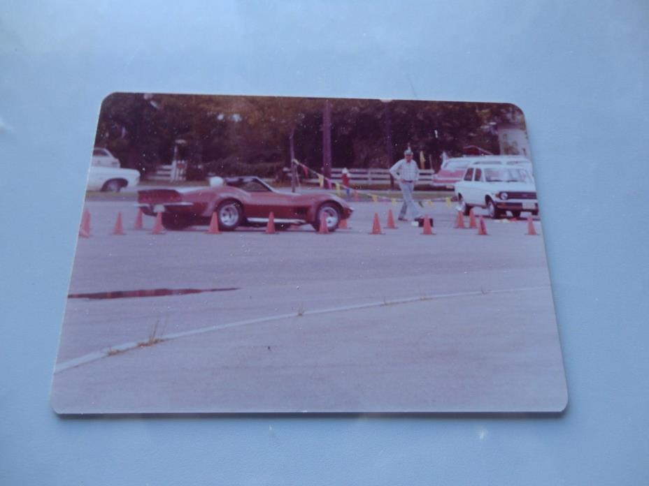 Vintage color photo Corvette during autocross speed trial