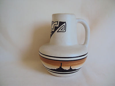 VINTAGE POTTERY CERAMIC SMALL PITCHER VASE WITH HANDLE SIGNED