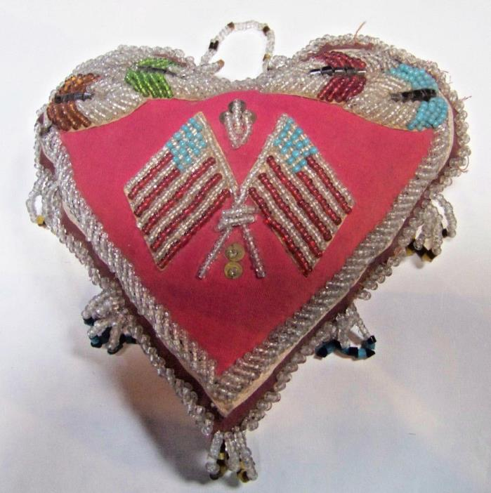 Antique Iroquois Bead Work Pin Cushion Crossed Flags Native American 8