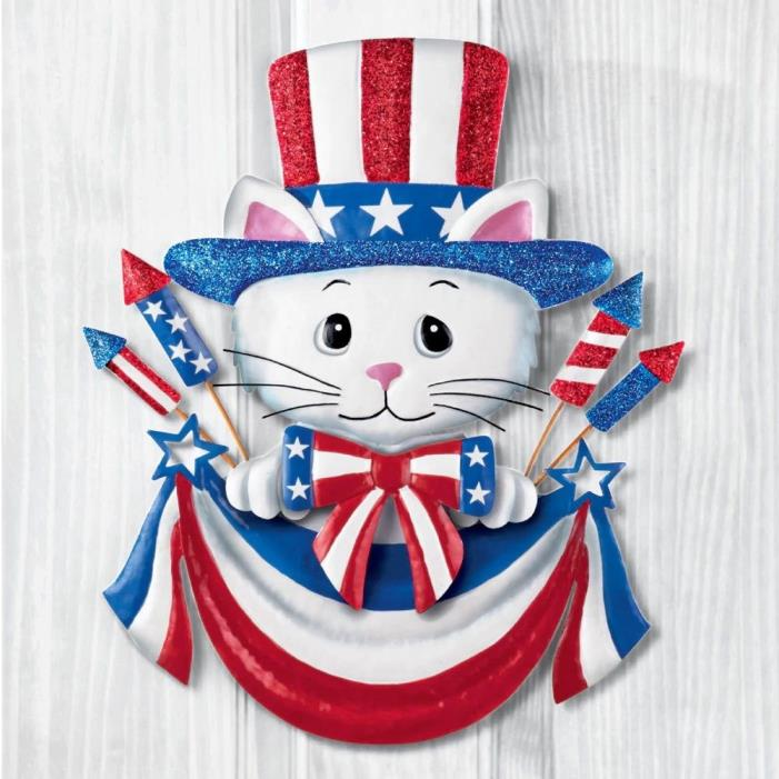 Patriotic Stars and Stripes Kitty Cat Door Wall Hanging Decor 4th of July