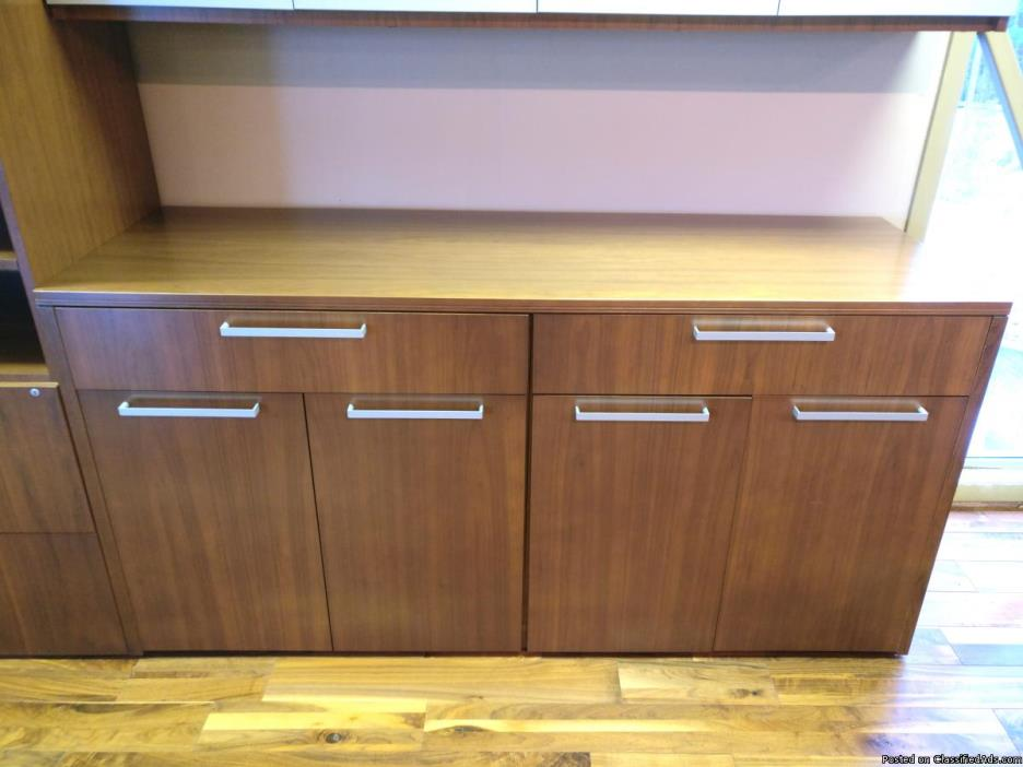 Veneer Buffet Credenza and Wardrobe Set by Indiana Furniture