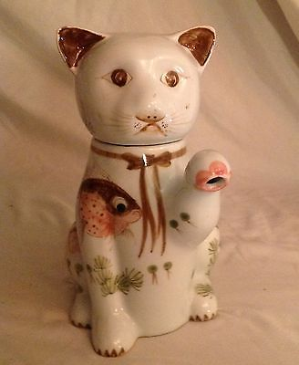 Kitten Tea Pot - Handcrafted In Thailand - Left Paw Is The Spout.