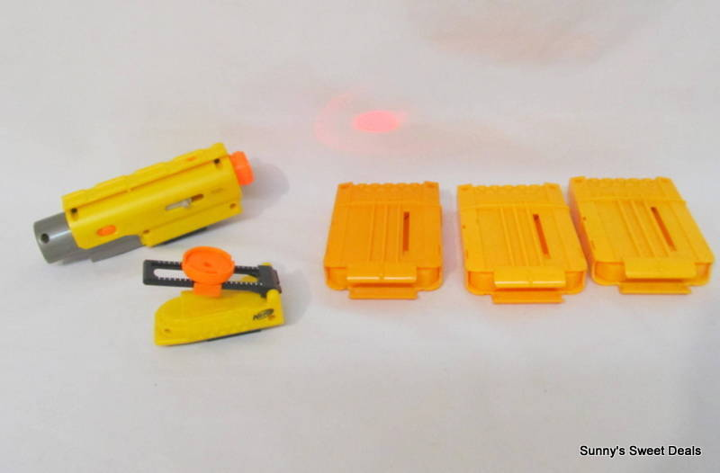 Nerf Accessories Includes: Tactical Laser Sight, 3 Ammo Clips & Adjustable Sight