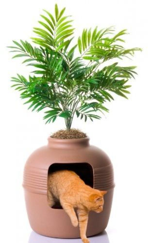 Hidden Litter Box looks like a clay pot+ attractive tree plant pet cat house
