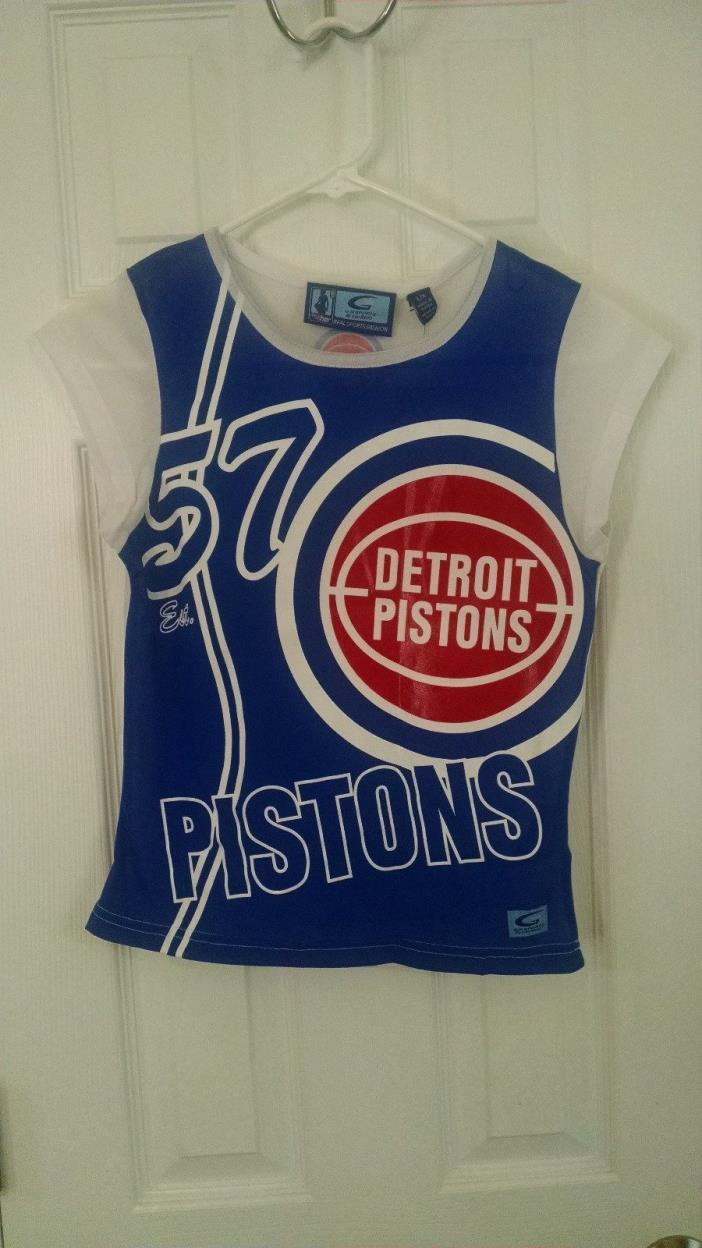 NBA 4 Her G lll Sports by Carl Banks Detroit Pistons Jersey Womens L $44 Retail