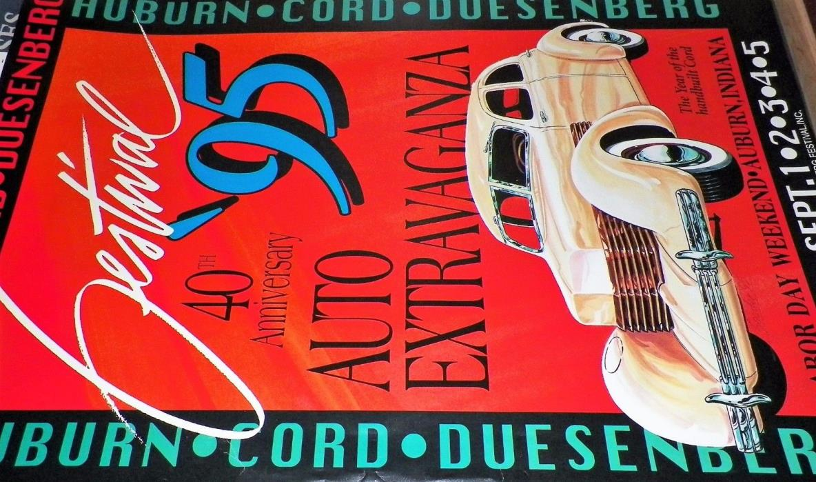 ORIGINAL Auburn Cord Duesenberg Festival 1995 Poster YEAR of the Hand Built 810