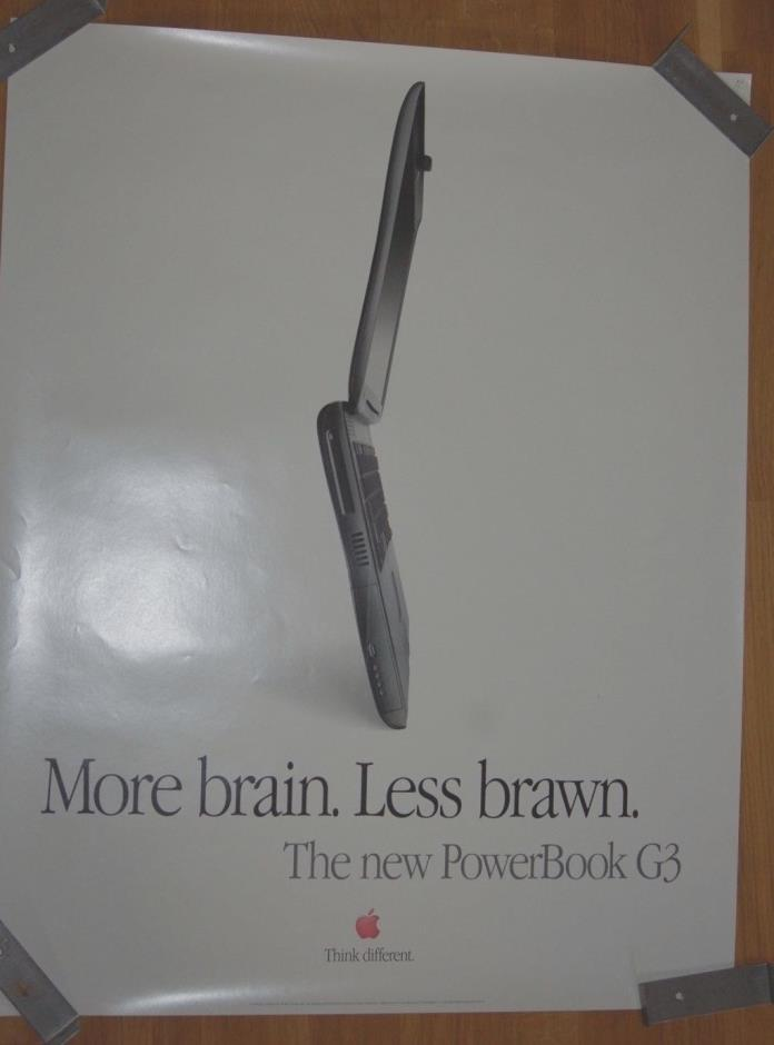 Vintage 1997 Apple More Brain Less Brawn Apple Power Book Poster 22inx28in