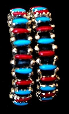 Zuni Sterling Silver & Turquoise  &  Coral Pettipont  Earrings