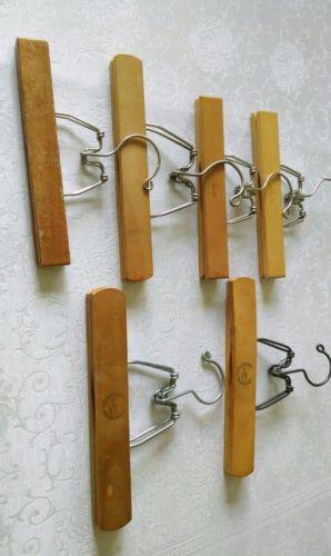 Heavy Duty Antique Lot of 6 Wood Metal Hangers Organize Slacks Apparel Fabric