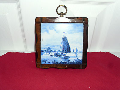 Vintage Framed Blue Delft Tile of Sailboat