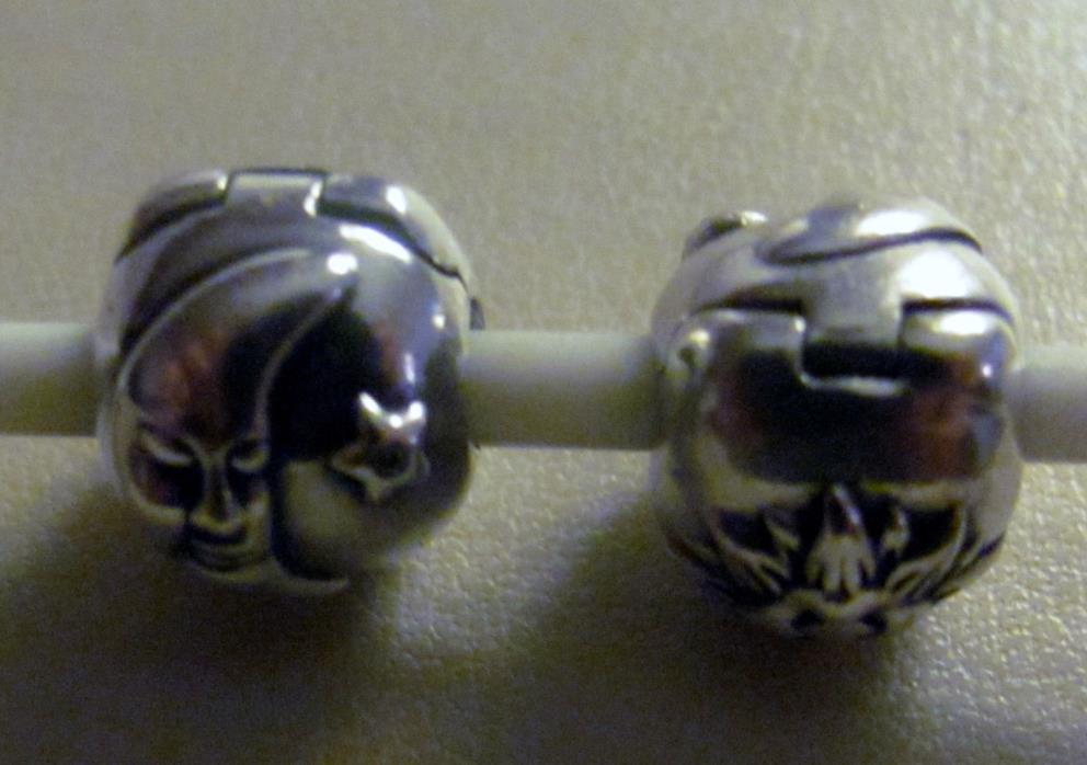 Pair Of AUTHENTIC PANDORA 925 Silver NIGHT AND DAY Moon/Sun CLIP Charm~Bead
