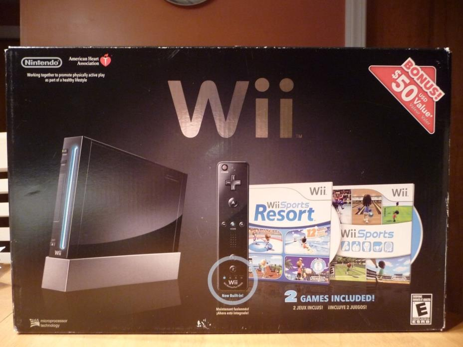 Nintendo Wii Black Console Wii Sports, Wii Resort  & Wii Remote Plus Bundle, NEW
