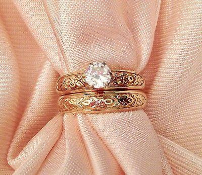 Custom Wedding Engagement Diamond Ring Set 14K YG Orange Blossom 1979