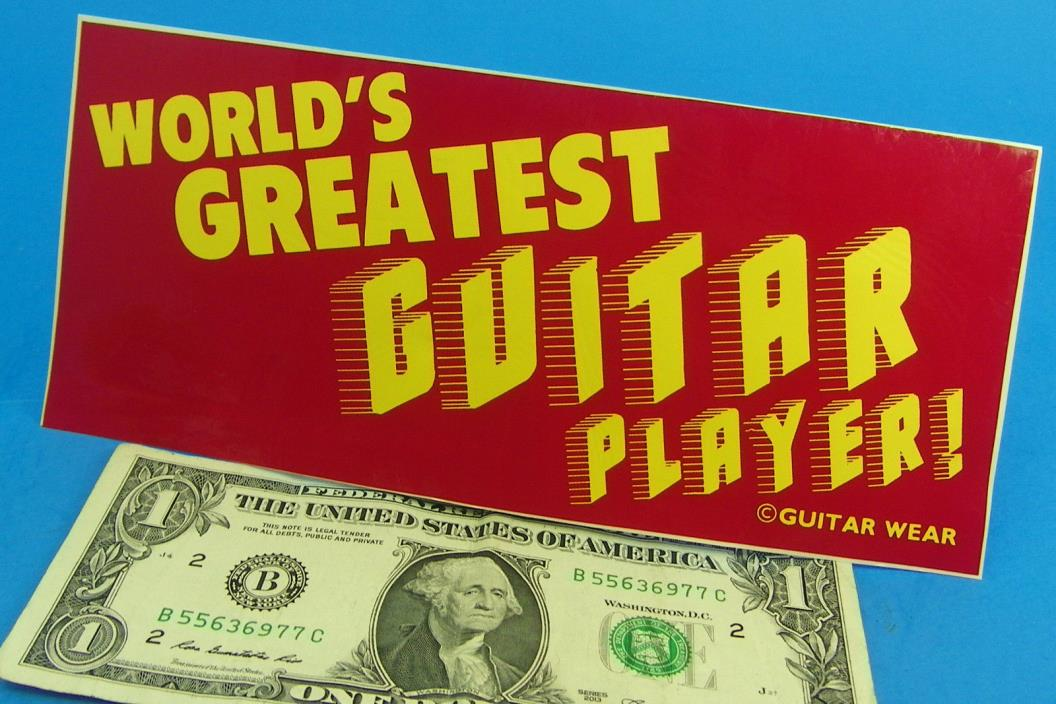 Vintage Bumper Sticker WORLD'S GREATEST GUITAR PLAYER 3 1/2