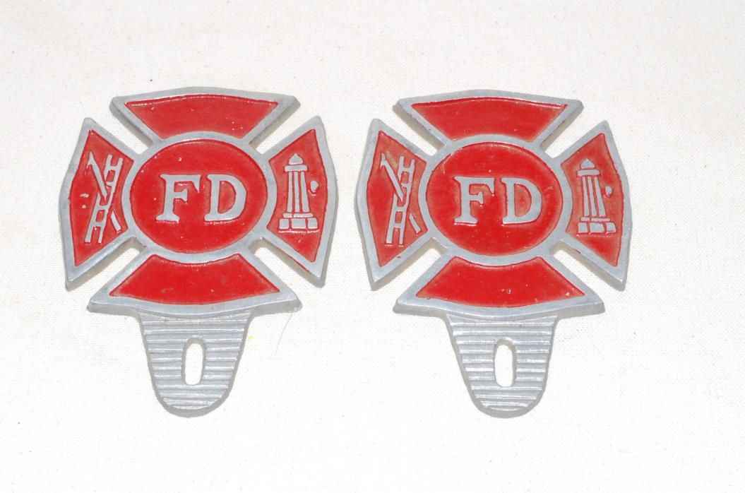 Vintage Fire Department Car Bumper Badge Shield Maltese Cross