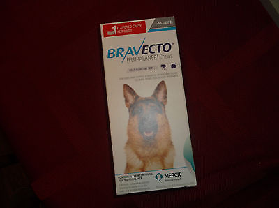 BRAVECTO for dogs 44-88 lbs, chew (1,000 mg), 1 dose, made in USA NIB, exp 9/18