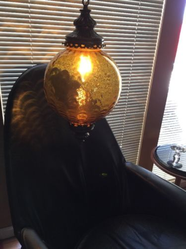 Vintage Round Amber Glass Brass Hollywood Regency Mid Century Modern Swag Lamp