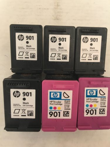 HP Lot Of 6 Empty Ink Cartridges 901 Black Color