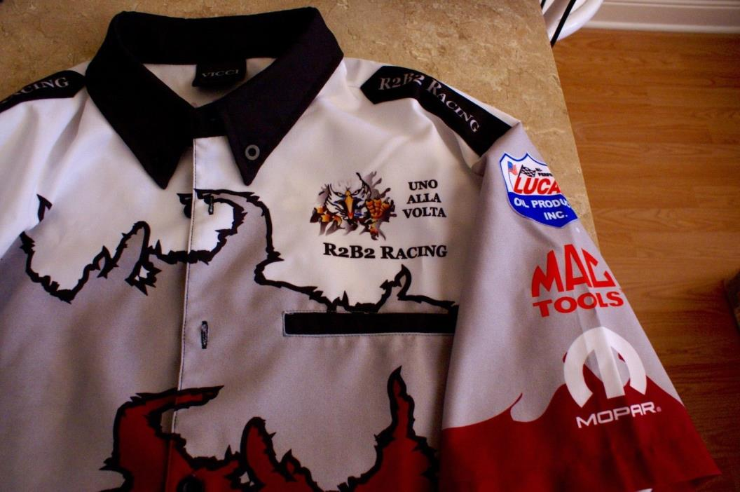 R2B2 Racing pit shirt team issued drag racing funny car RARE Lucas Oil NHRA