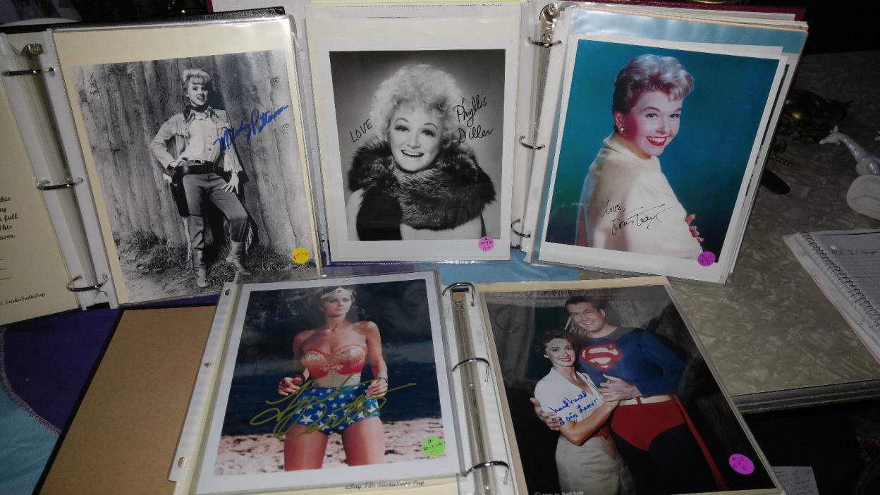 Movie Star Autographs 5 women: Lois Lane,Linda Carter, Phyllis Diller, Doris Day