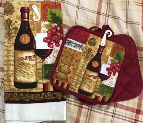 3~Pcs Kitchen Towel & Pot Holder Wine Bottle & Glass Theme 7