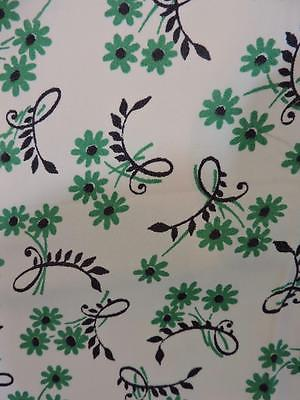 VTG 1940s Rayon Fabric Dress Yardage Green Flowers 3yds 38