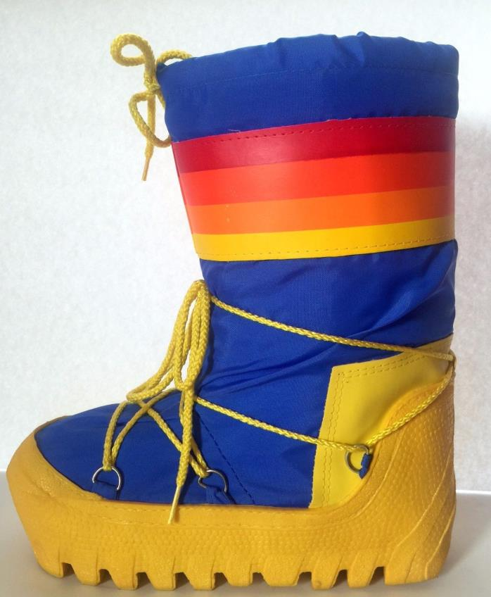 Vintage 80s Rainbow Moon Boots Winter Snow Skiing Mens 9/10 Snowboots Womens-11