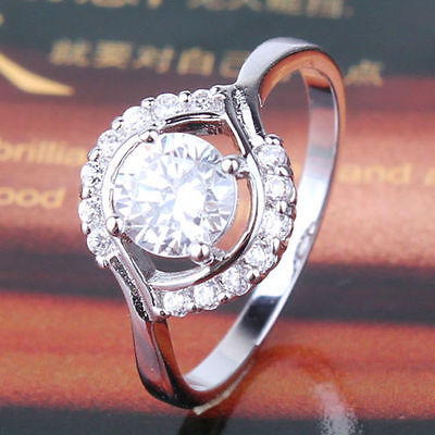 Cluster Design 18k White Gold Filled White Topaz Ring
