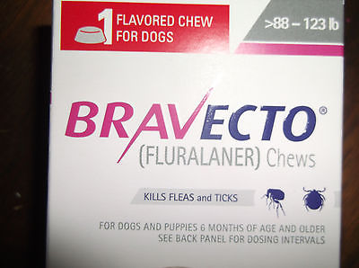 BRAVECTO for dogs 89-132 lbs, chew (1,400 mg), 1 dose, made in USA NIB, exp 8/18