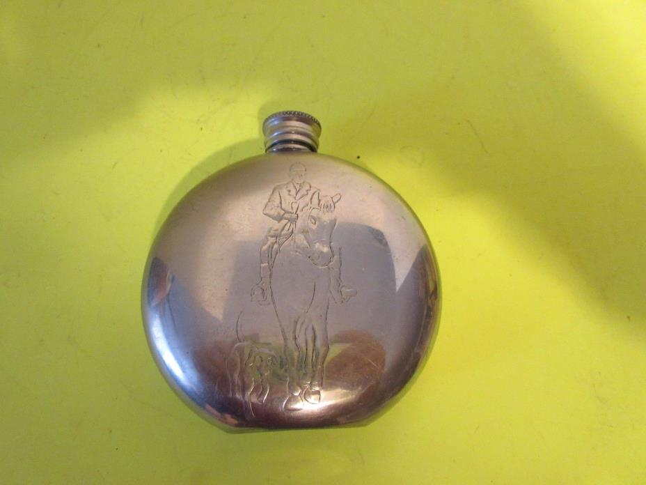 Antique English Pewter Sheffield Pinder Brothers Silver Hunting Scene Flask