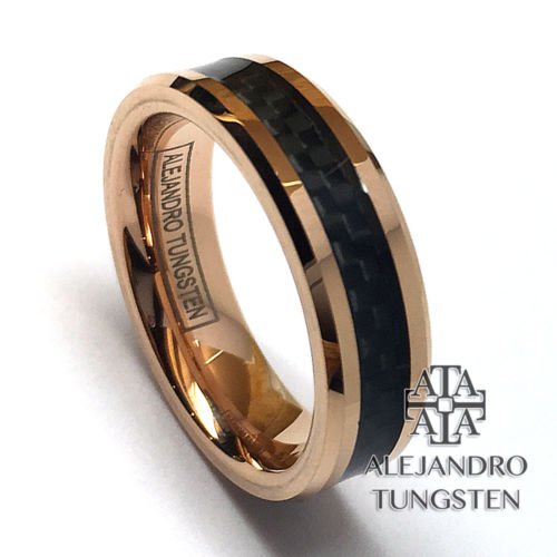Tungsten Ring Wedding Band Comfort Fit 6MM Rose Gold Black Inlay Size 7.5