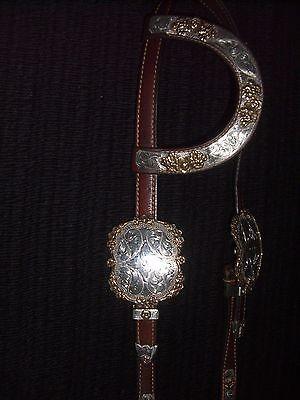 Vintage Custom Carlos Sterling Silver Western Horse Show Headstall Bridle