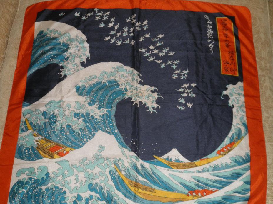 VINTAGE JAPANESE THE GREAT WAVE WOODBLOCK PRINT HOKUSAI ART SILK SCARF