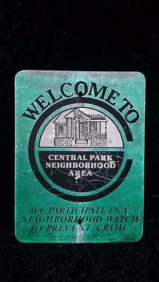 Vintage Central Park Neighborhood Area Metal Street Sign