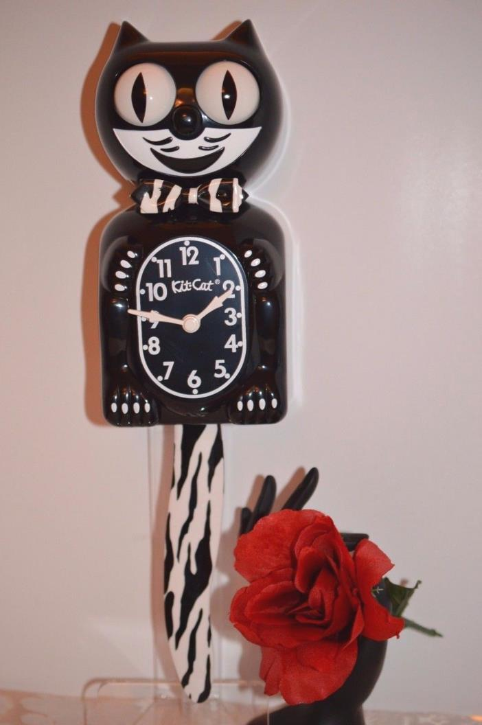 Kit Cat Clock Black Zebra design Made In USA We ship Priority in 24 Hrs.