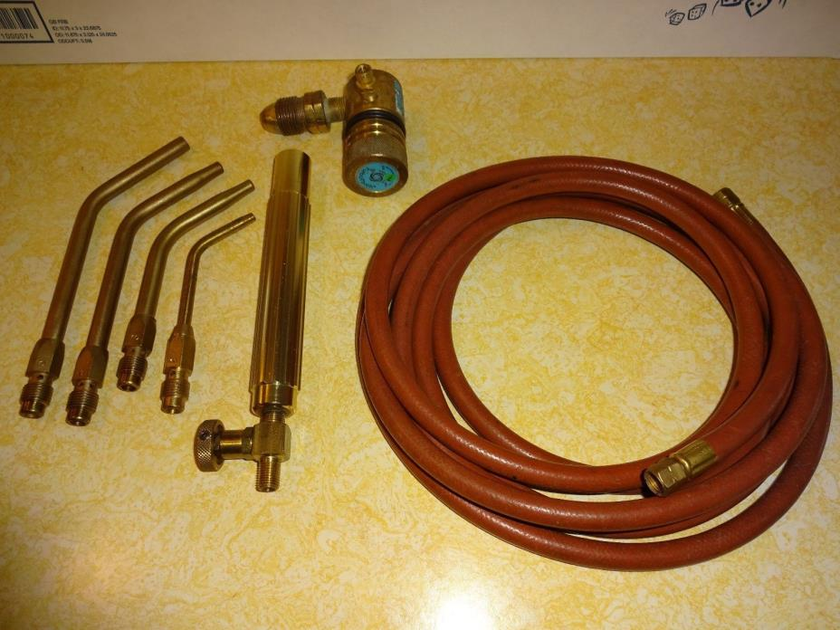 ACETYLENE TORCH WITH 4 ASCO TIPS - TURBOTORCH REGULATOR - HANDLE - HOSE
